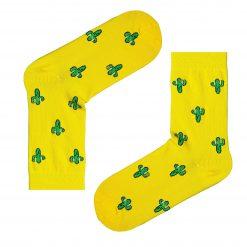 جوراب ساقدار بوم طرح کاکتوس زرد