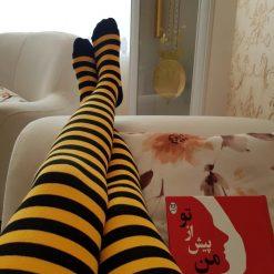جوراب ساق بلند بالای زانو ال سوان طرح زنبوری
