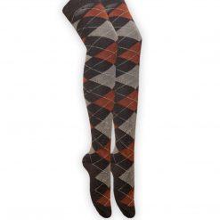 جوراب ساق بلند بالای زانو طرح اسکاچ قهوه ای نارنجی با ساق 65 سانتی