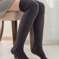 جوراب ساق بلند بالای زانو طرح بافت دودی با ساق 65 سانتی