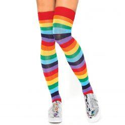 جوراب ساق بلند بالای زانو السوان طرح رنگین کمانی