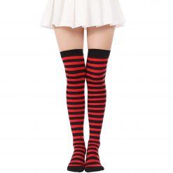 جوراب ساق بلند بالای زانو آپتیمیست طرح راه راه مشکی و قرمز