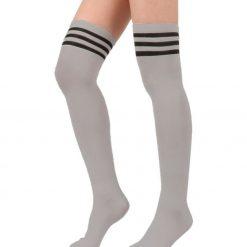 جوراب ساق بلند بالای زانو آپتیمیست طرح طوسی با سه خط مشکی