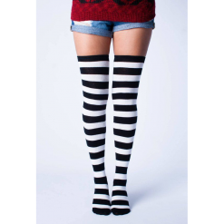 جوراب ساق بلند بالای زانو آپتیمیست طرح راه راه سفید و مشکی