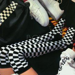 جوراب ساق بلند بالای زانو بویا طرح شطرنجی