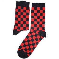 جوراب ساقدار آپتیمیست طرح شطرنجی قرمز و مشکی