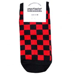 جوراب مچی آپتیمیست طرح شطرنجی قرمز و مشکی