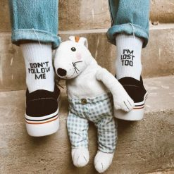 جوراب ساقدار آپتیمیست طرح لنگه به لنگه dont follow me سفید