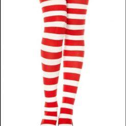 جوراب ساق بلند بالای زانو آپتیمیست طرح راه راه سفید و قرمز