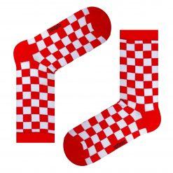 جوراب ساقدار آپتیمیست طرح شطرنجی قرمز و سفید
