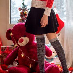 جوراب ساق بلند بالای زانو ال سوان طرح طوسی سرمه ای با ساق 65 سانتی
