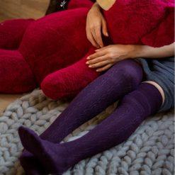 جوراب ساق بلند بالای زانو السوان طرح بافت بادمجانی