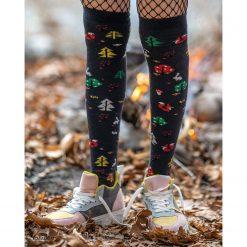 جوراب ساق بلند بالای زانو السوان طرح جنگل و روباه با ساق 65 سانتی
