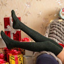 جوراب ساق بلند بالای زانو السوان طرح بافت یشمی شاین
