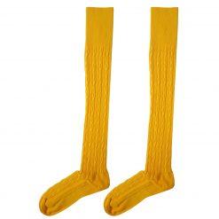 جوراب ساق بلند بالای زانو السوان طرح بافت زرد