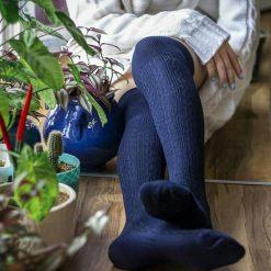 جوراب ساق بلند بالای زانو السوان طرح بافت سرمه ای
