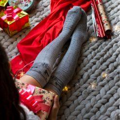 جوراب ساق بلند بالای زانو السوان طرح گوزن با ساق 65 سانتی