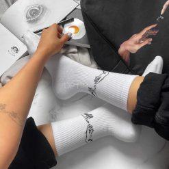 جوراب ساقدار آپتیمیست طرح آفرینش آدم سفید