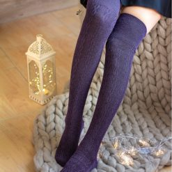 جوراب ساق بلند پشمی بالای زانو السوان طرح بافت بادمجانی شاین